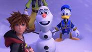 Sora Donal and Goofy with Olaf KHIII