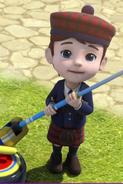 Callum with a curling stick