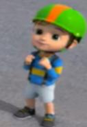 Cian in his bike helmet