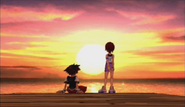 Sora and Kairi at sunset