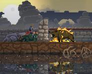 Boar on lizard's fire