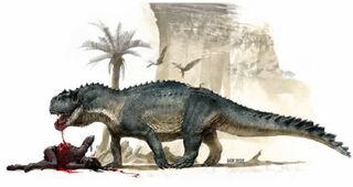 Nefundudsaurus pożerający tubylca