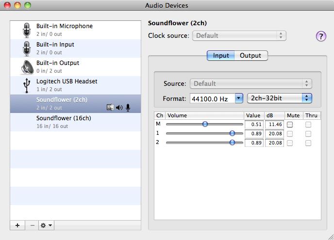 Audio MIDI Setup settings for Soundflower input.