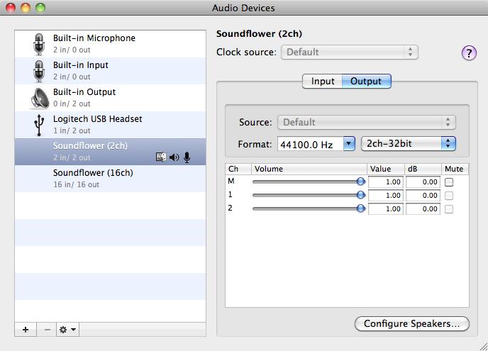 Audio MIDI Setup settings for Soundflower output.