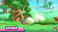Kirby Araña atrapando enemigos en una red.