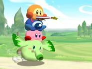 Waddle Dee Sombrilla, Waddle Doo y Kirby sobre Heat Phan Phan (Kirby GCN)