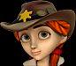 (Klondike) Red Girl Cowboy Hat Hair