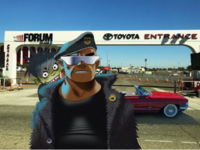 Russel and Murdoc's car stopping