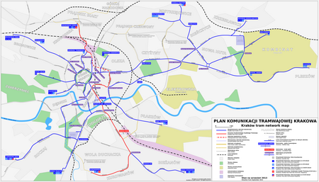 Mapa systemu tramwajowego Kraków 2014.PNG