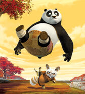 Shifu gooit Po in de lucht