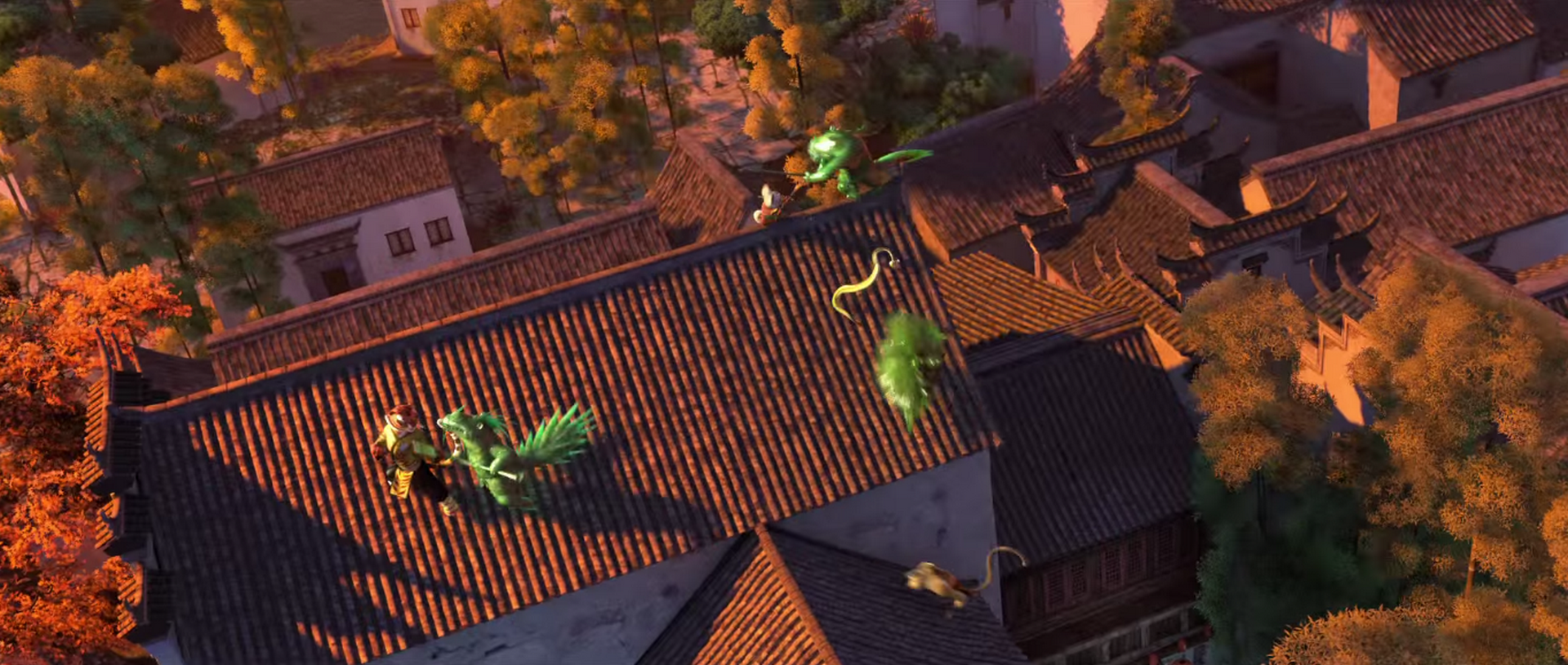 Battle between kung fu masters and jade zombies
