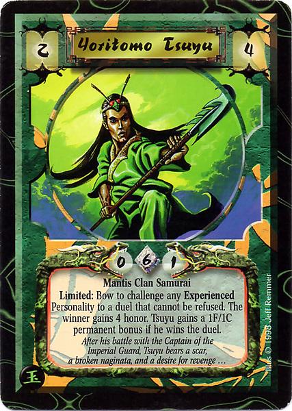 L5R Legend of the Five Rings CCG Yoritomo  Experienced 1998 Jade