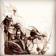 Noble y Hechicera Elfos Oscuros por Dave Gallagher