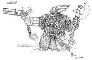 Boceto Señor Enano con Pistola por Mark Gibbons