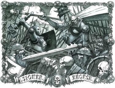 Sigmar contra Nagash por Wayne England.jpg