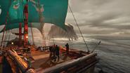 Leviatán negro atacando un barco en Man O' War- Corsair