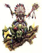 Chamán Goblin Silvano en Araña por Mark Gibbons
