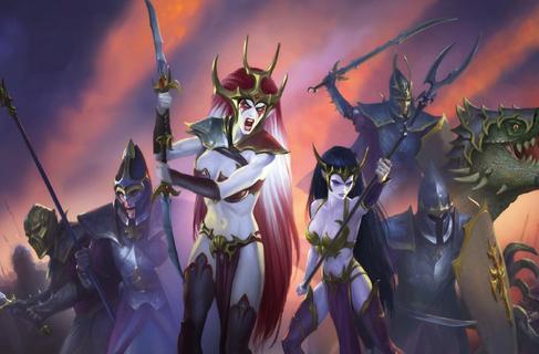 Variedad guerreros elfos oscuros concept art warhammer total war.png