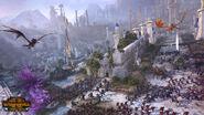 Batalla Altos elfos contra Orcos Warhammer Total War El Guardian y el Panzudo