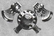 Hachas y escudo hombres lagarto