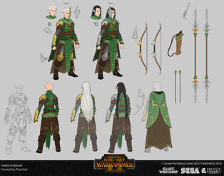 Naestra y arahan warhammer total war concept art por Tony Sart