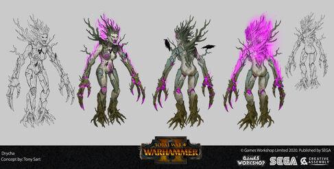Drycha warhammer total war concept art por Tony Sart