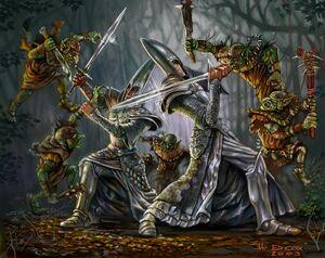 Grupo de Goblins Silvanos por H. Ed Cox Altos Elfos.jpg