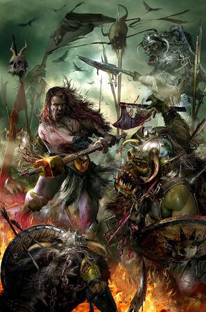 Portada La leyenda de Sigmar Heldenhammer por Jon Sullivan Orcos.jpg