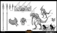 Eslizones warhammer total war concept art por Rinehart Appiah