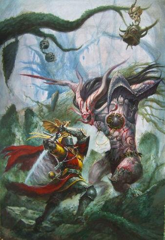 La Busqueda del Grial por Tze Kun Chin Caballero Bretoniano contra Demonio de Slaanesh.jpg