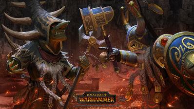El Rey y el Señor de la Guerra por Milek Jakubiec Warhammer Total War Skarsnik contra Belegar.jpg