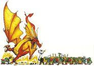 Dragón quemando orcos por Dave Gallagher