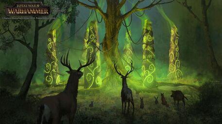 Llamada de los pilares Elfos Silvanos por Milek Jakubiec Warhammer Total War.jpg