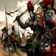 Warhammer-Caballeros Negros de Morr por Clint Langley