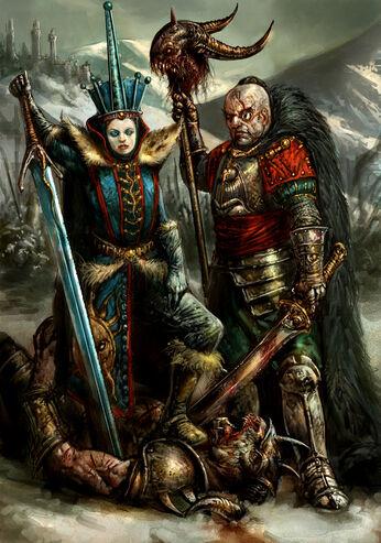 Magnus y Reina de Hielo por Dave Kendall Imperio Kislev.jpg