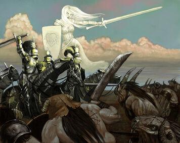 Warhammer Caballeros por John Wigley Sol Llameante Imperio Hombres Bestia.jpg
