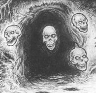 Craneos de la muerte entrada cueva por Martin McKenna