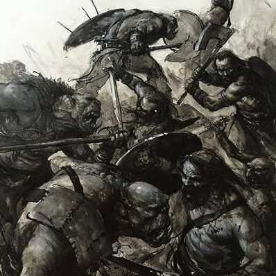 Guerreros Orcos contra Bárbaro del Imperio por Karl Kopinski.jpg