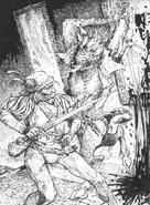 Hombre bestia por Russ Nicholson
