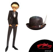 Adrien suit and Marinette's hat concept art