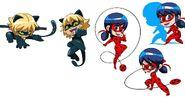 Ladybug Cat Noir Action Chibi