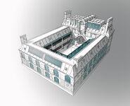 College Francoise Dupont exterior back view concept art