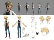 Adrien Agreste 2D to 3D Turnaround Sheet