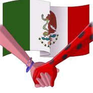 Ladybug shaking hands with Mexico Flag in BG