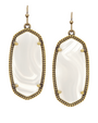 Kendra Scott - ''Elle'' earrings brass white banded agate