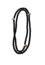 Stefere - Diamond skull and black pearl necklace