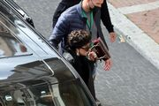 4-17-21 Arriving on the set of ''House of Gucci'' in Rome, Italy 001