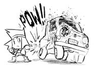 KO punches the car