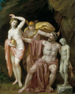 Hermes ofreciendo a Pandora a Prometeo