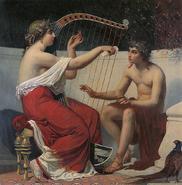 Calíope enseñando a Orfeo